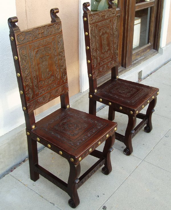 Hand Tooled Leather Chair, Made In Peru