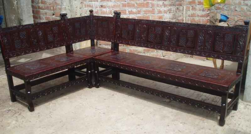 Hand Tooled Leather Corner Bench, made in Peru