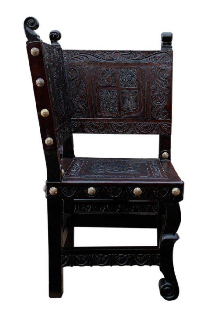 Hand Tooled Leather Corner chair, made in Peru