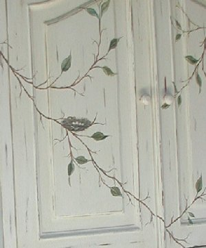 French Country Furniture Hand Painted Birds Nest Design. Hand Painted  Armoire