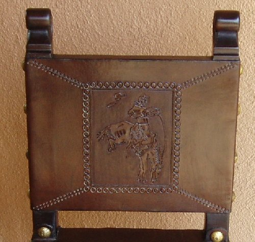 hand tooled leather buckin' bronco