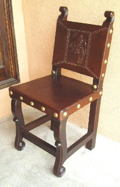 hand tooled leather Spanish Colonial kitchen chair buckin' bronco