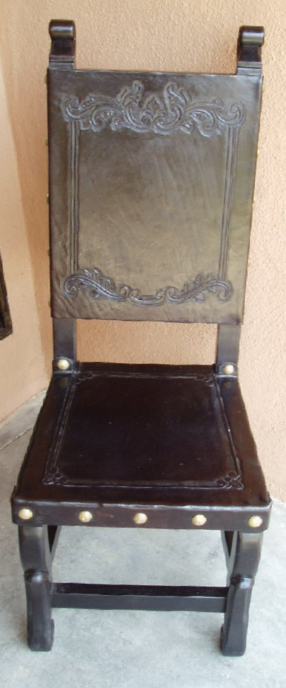 Hand Tooled Leather Chair, Spanish Colonial chair