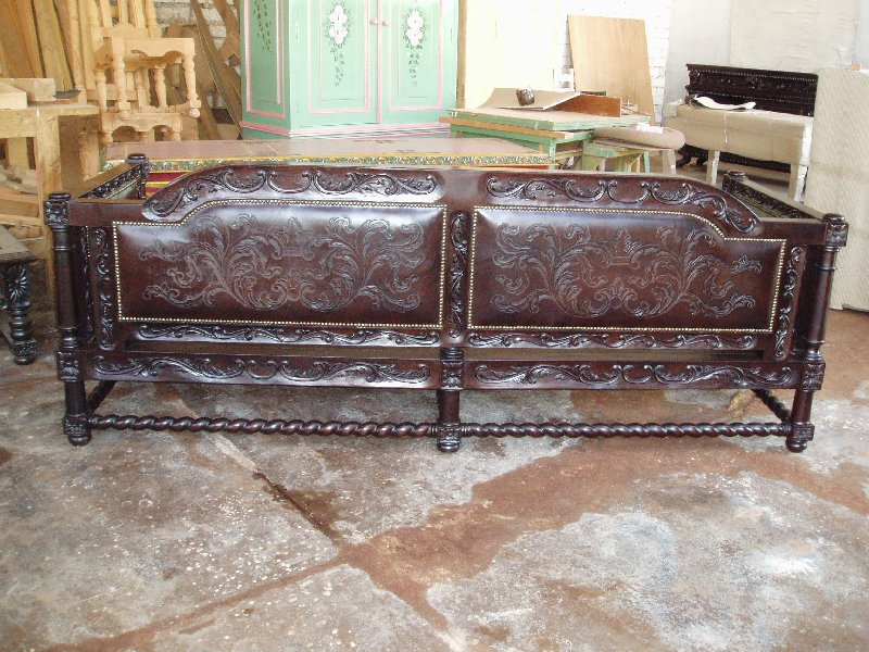 Custom Spanish Revival Sofa 96 W In Dark Walnut Finish With Twisted Rope Carving And Hand Carved Leather Panels