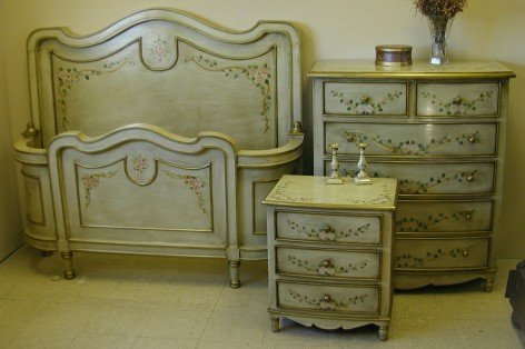 Hand Painted French Country Bed dove white - Renaissance Architectural - Renaissance Hand Painted Beds