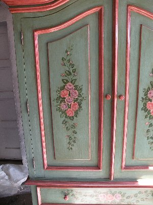 French Country Armoire rose detail