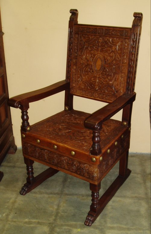 Reproduction Renaissance Period Hand Tooled Leather armchair