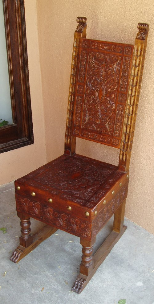 Reproduction Renaissance Period Hand Tooled Leather chair