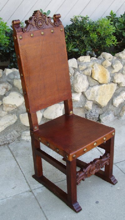 Spanish Friar Leather Side Chair