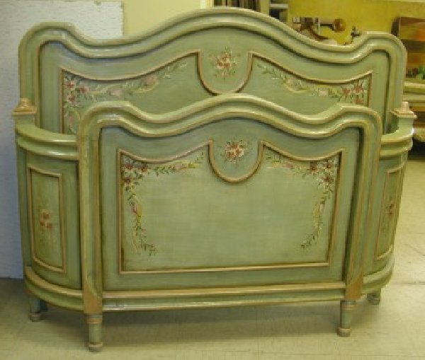 Hand Painted French Country Bed antique green