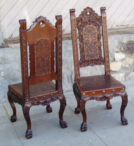 Superieur Isabellina Side Chair With Hand Tooled Leather, Hand Carved Wood