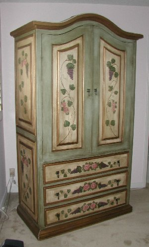 French Green Armoire With Pink Trim Lavender And Roses Country