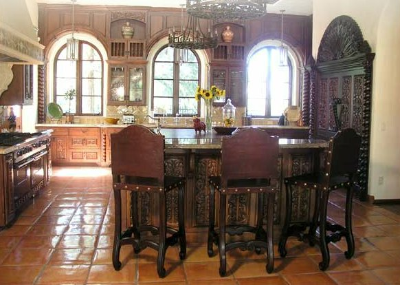 Spanish Revival Furniture Old World Spanish Hacienda Home Interior design for kitchen and bar ...