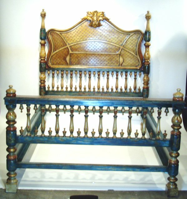 Old Spanish Style hand painted bed Sevilla bed