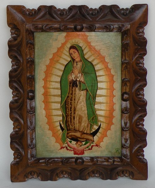 Virgen de Guadalupe hand painted made in Peru